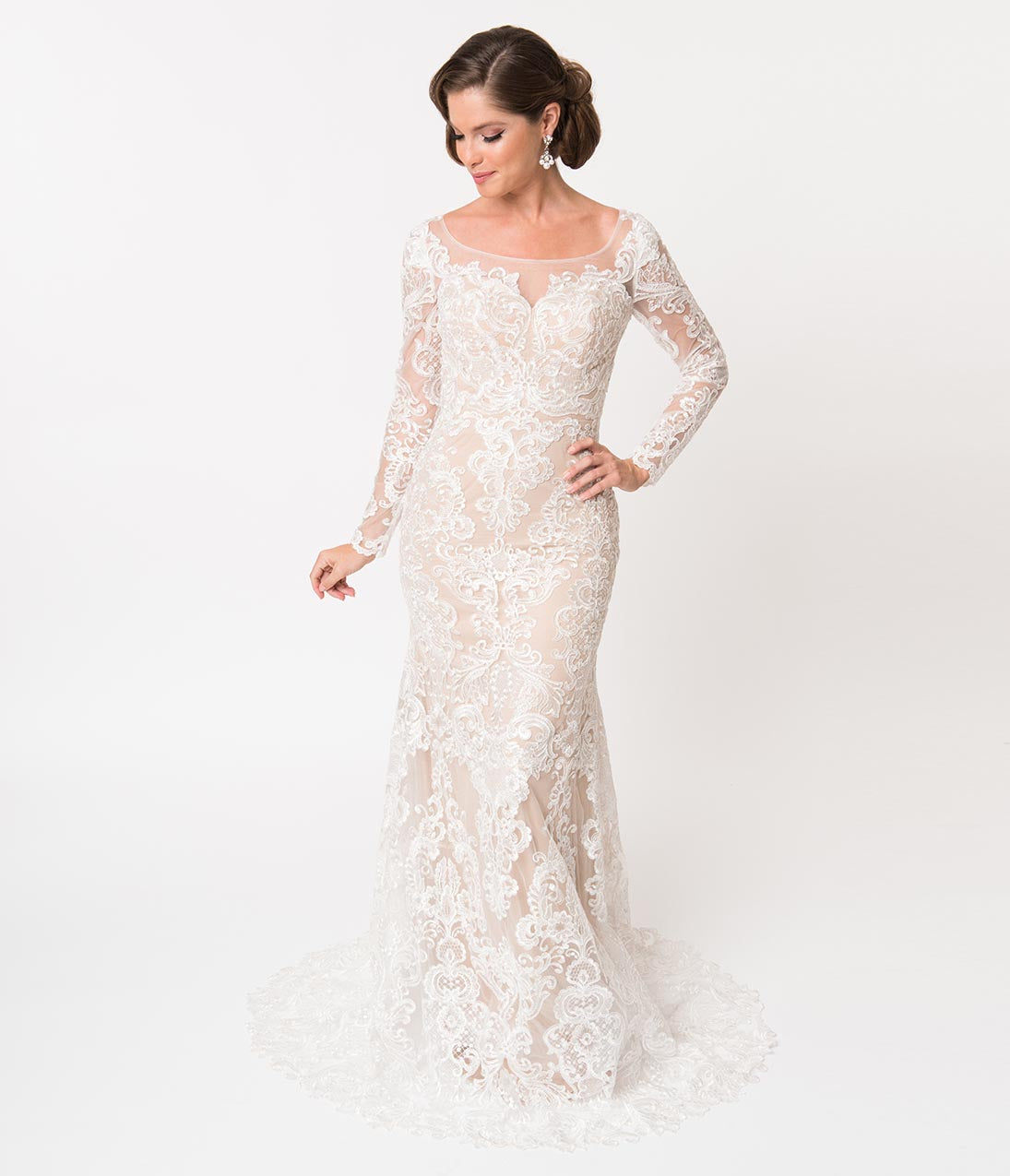 e079179ddc Ivory Lace   Beige Illusion Neckline Long Sleeved Fitted Bridal Gown