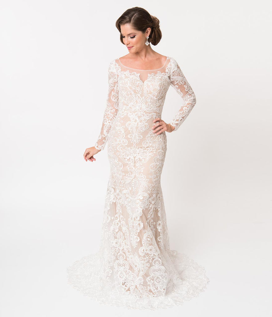 Ivory Lace Beige Illusion Neckline Long Sleeved Fitted Bridal Gown
