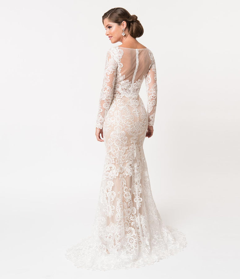 99f3568340a0 Ivory Lace & Beige Illusion Neckline Long Sleeved Fitted Bridal Gown. Quick  View