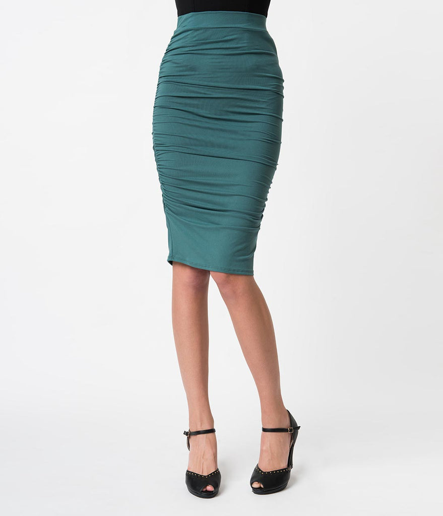 1960s Style Sage Green Knit Ruched Midi Wiggle Skirt