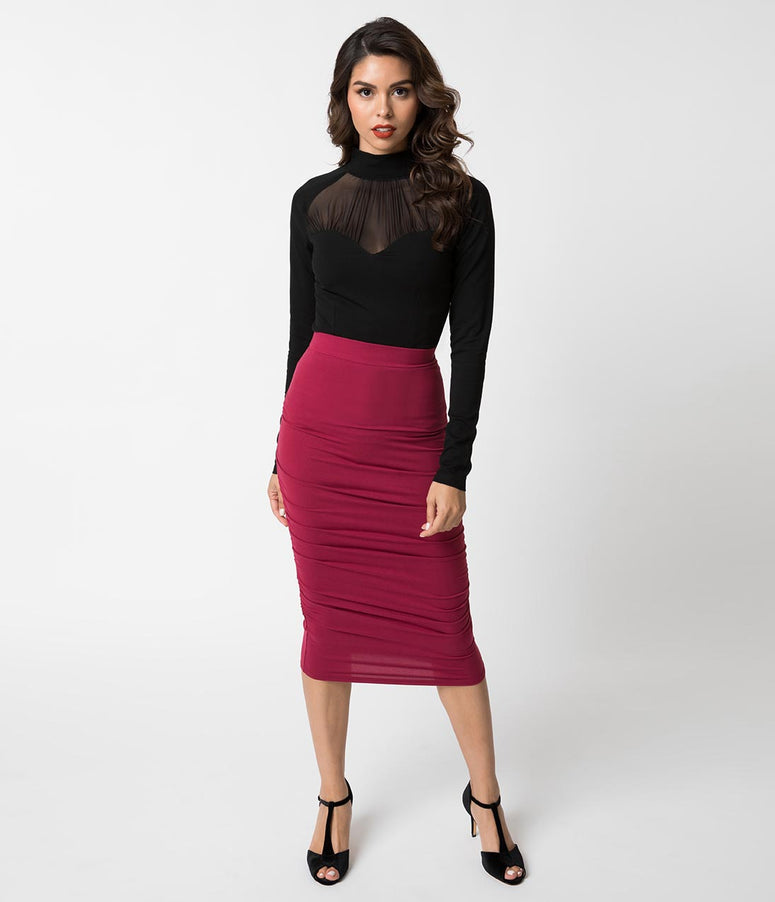 1960s Style Wine Red Knit Ruched Midi Wiggle Skirt