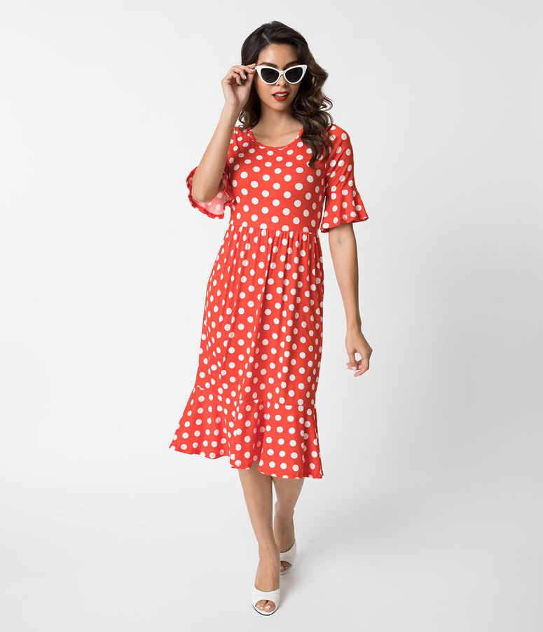 Retro Style Red & White Polka Dot Bell Sleeve Dress