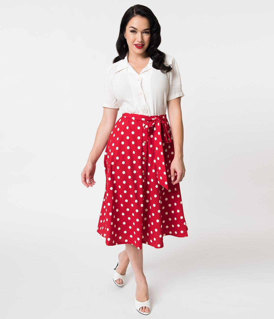 50s Skirt Styles | Poodle Skirts, Circle Skirts, Pencil Skirts Vintage Style Red  White Polka Dot Tie Midi Skirt $48.00 AT vintagedancer.com