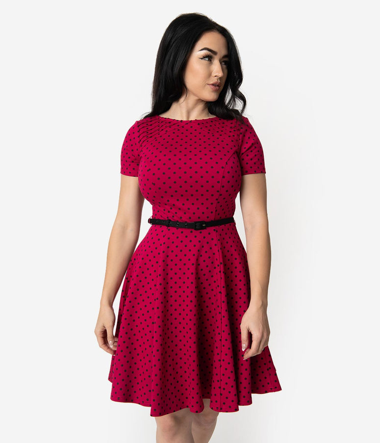 Unique Vintage Raspberry & Black Polka Dot Short Sleeve Fit & Flare Dress