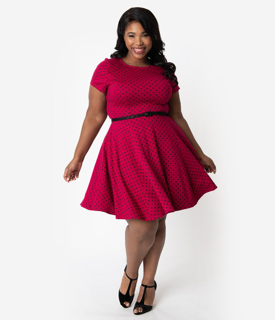 Unique Vintage Plus Size Raspberry & Black Polka Dot Short Sleeve Fit & Flare Dress