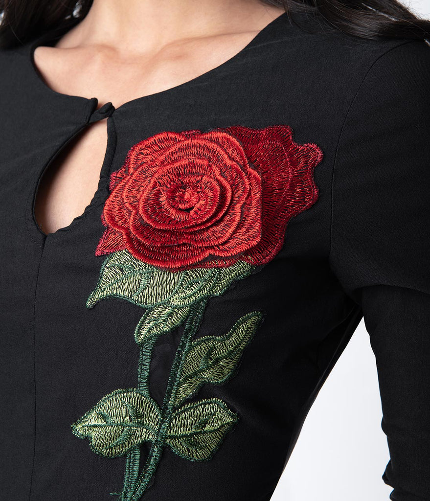Unique Vintage 1960s Black & Embroidered Red Rose Maryland Wiggle Dress