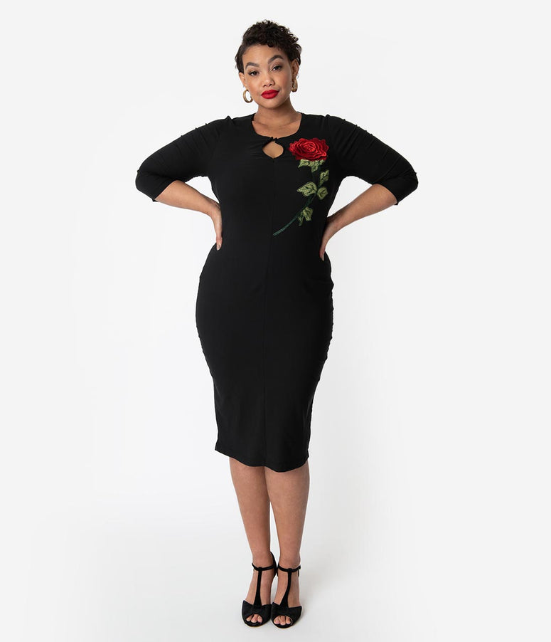 Unique Vintage Plus Size 1960s Black & Embroidered Red Rose Maryland Wiggle Dress