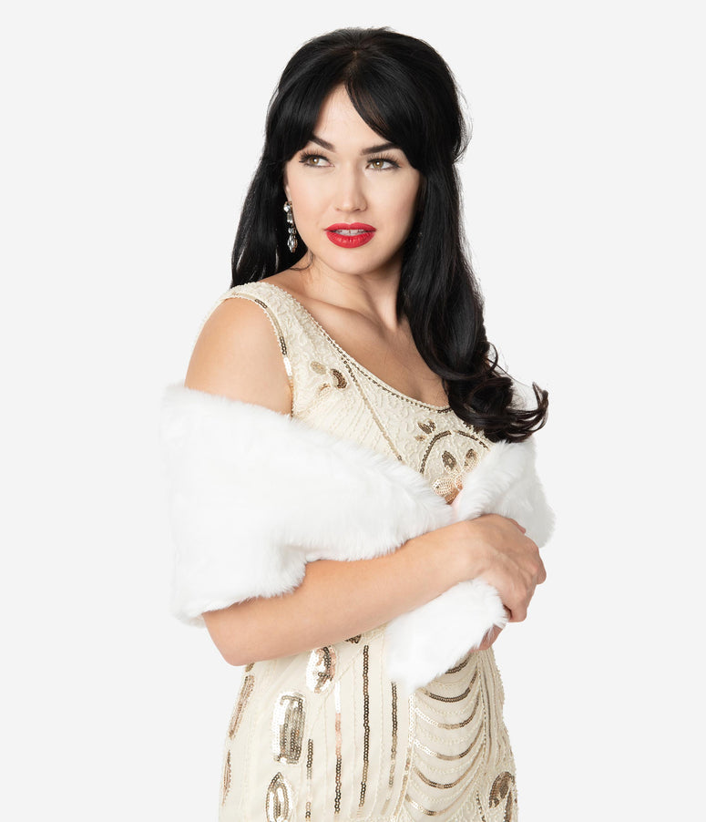 Barbie x Unique Vintage White Faux Fur Enchanted Evening Stole