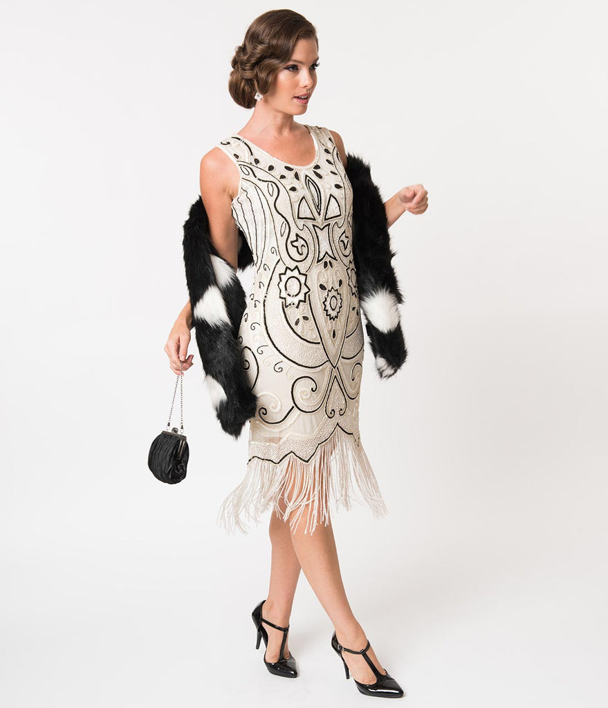 1920s Style White & Black Beaded Sleeveless Fringe Cocktail Dress