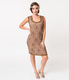 1920s Style Taupe & Copper Beaded Silk Cocktail Dress