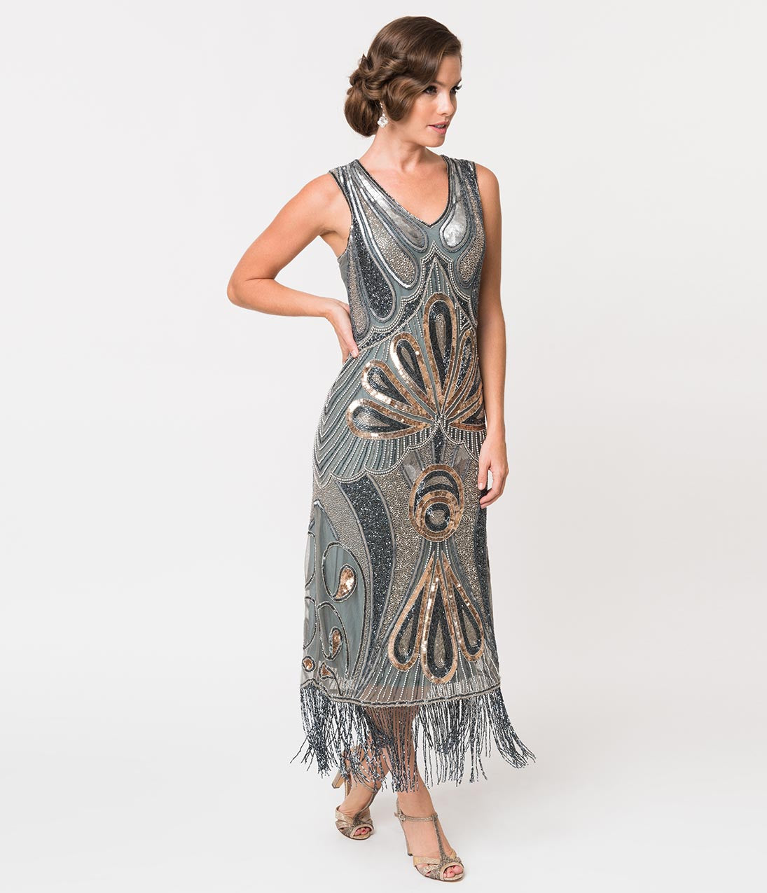 1920s Evening Dresses & Formal Gowns 1920S Style Silver Grey  Gold Beading Silk Long Flapper Dress $358.00 AT vintagedancer.com