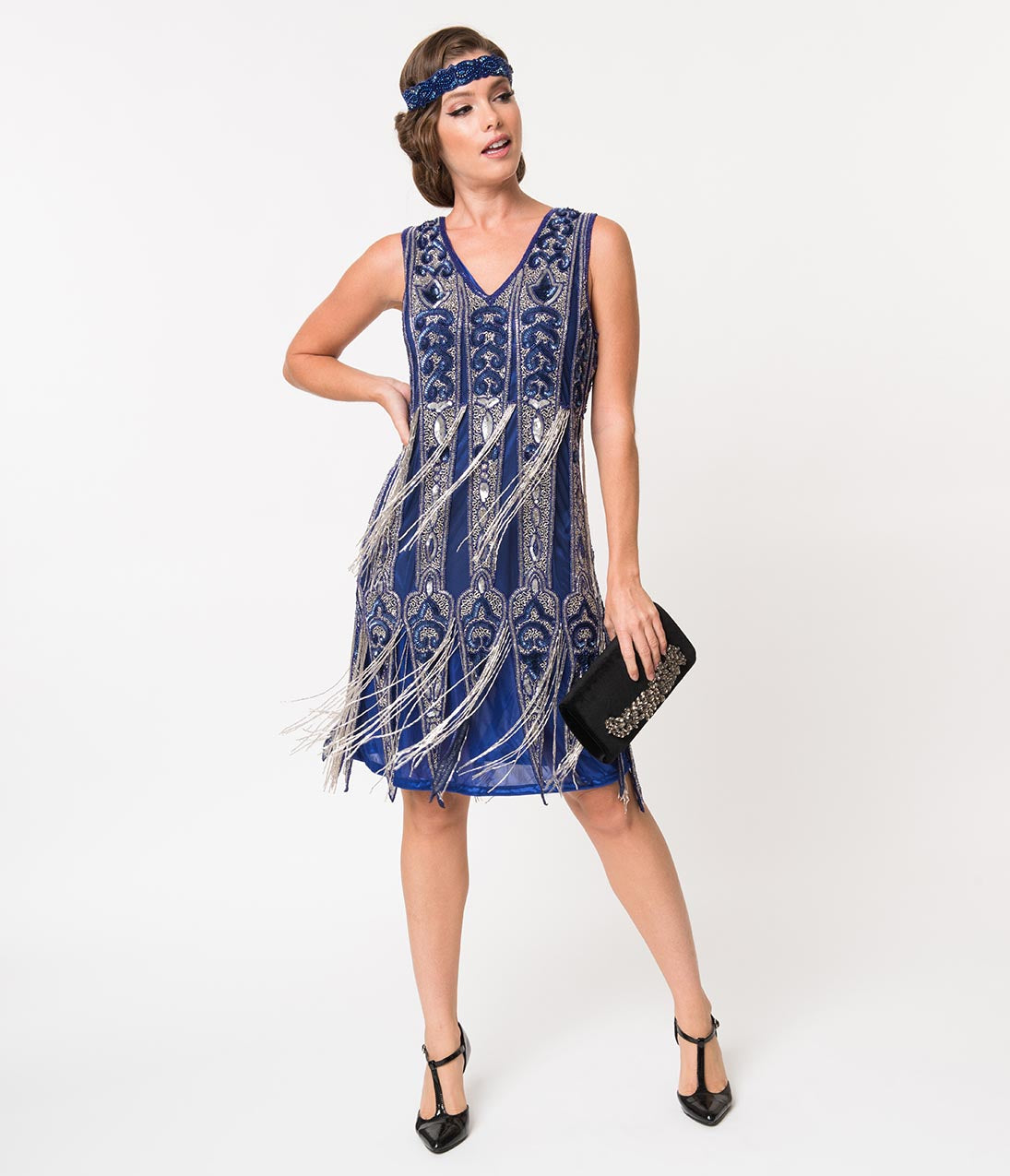 1920s Evening Dresses & Formal Gowns Vintage Style Royal Blue  Silver Beaded Fringe Flapper Dress $358.00 AT vintagedancer.com