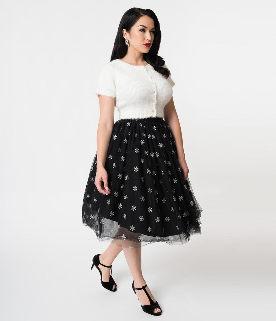 5c8b2539b41 Hell Bunny Black Tulle   Silver Snowflakes High Waist Snowstar Swing S –  Unique Vintage