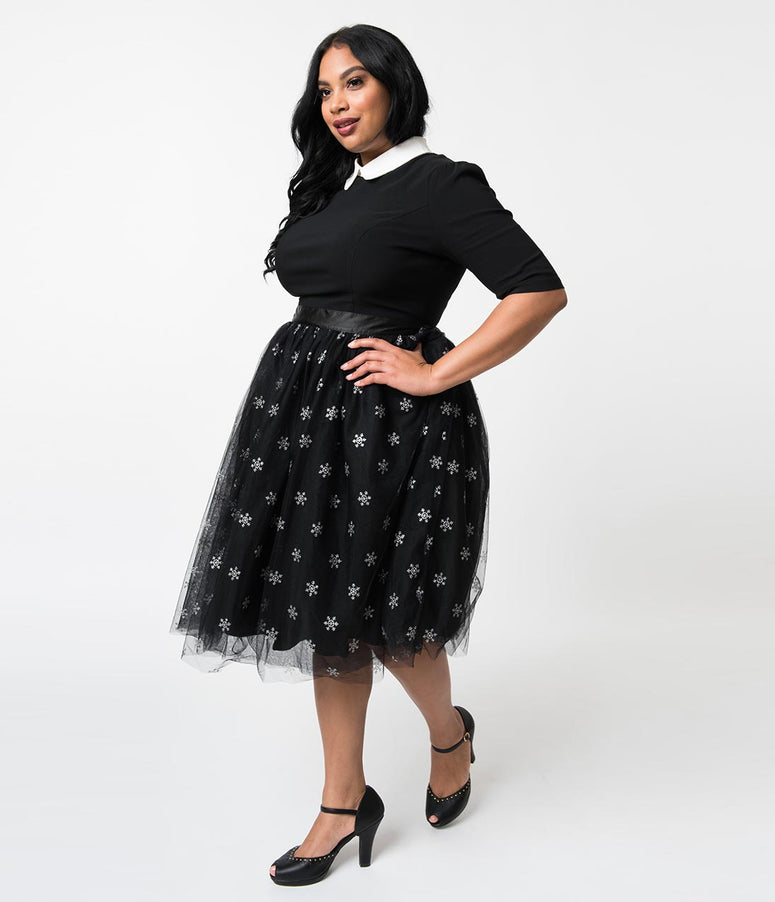 Hell Bunny Plus Size Black Tulle & Silver Snowflakes High Waist Snowstar Swing Skirt