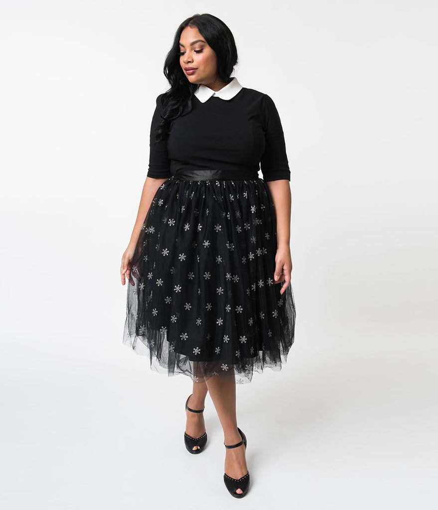 b97552e8f27 ... Hell Bunny Plus Size Black Tulle   Silver Snowflakes High Waist  Snowstar Swing Skirt ...