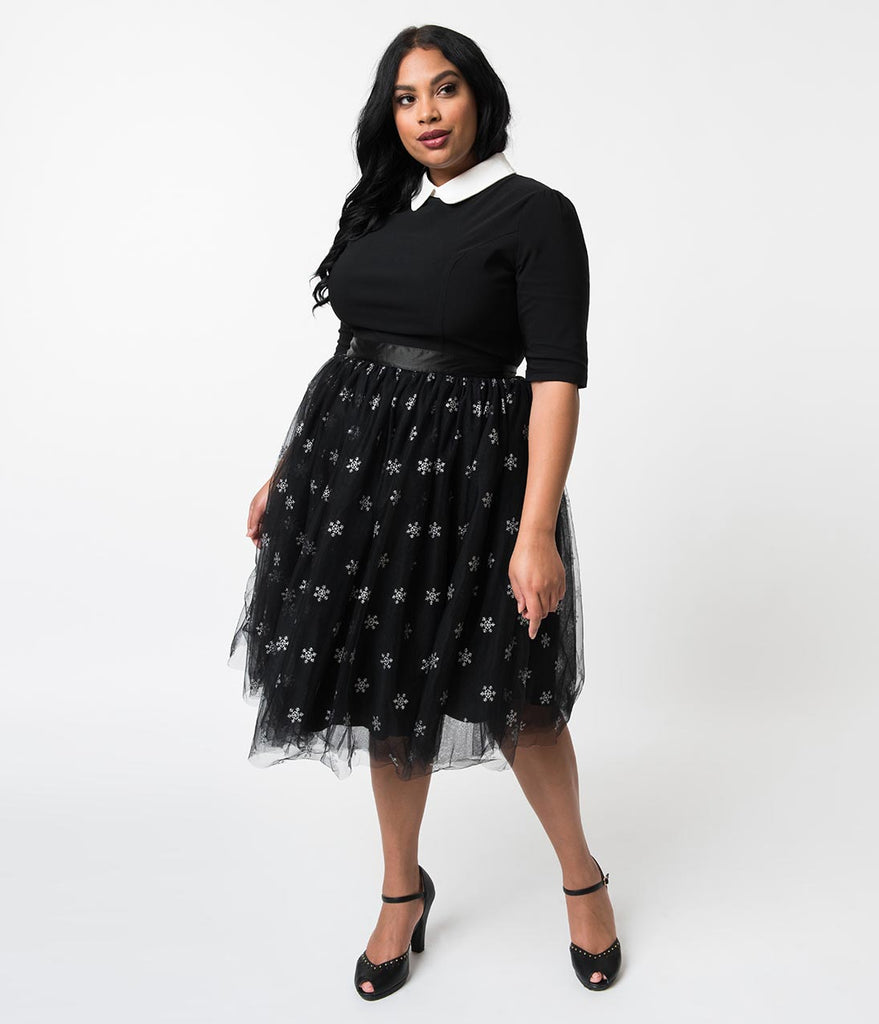 3f7367324dc ... Hell Bunny Plus Size Black Tulle   Silver Snowflakes High Waist  Snowstar Swing Skirt