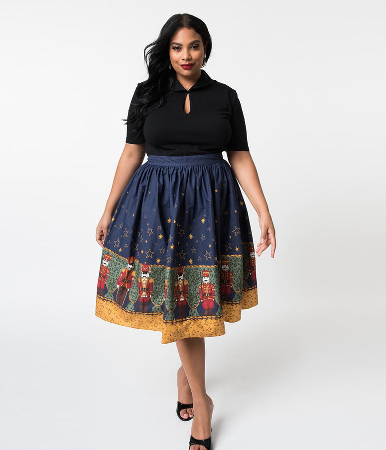 Hell Bunny Plus Size 1950s Style Nutcracker Print High Waist Cotton Swing Skirt