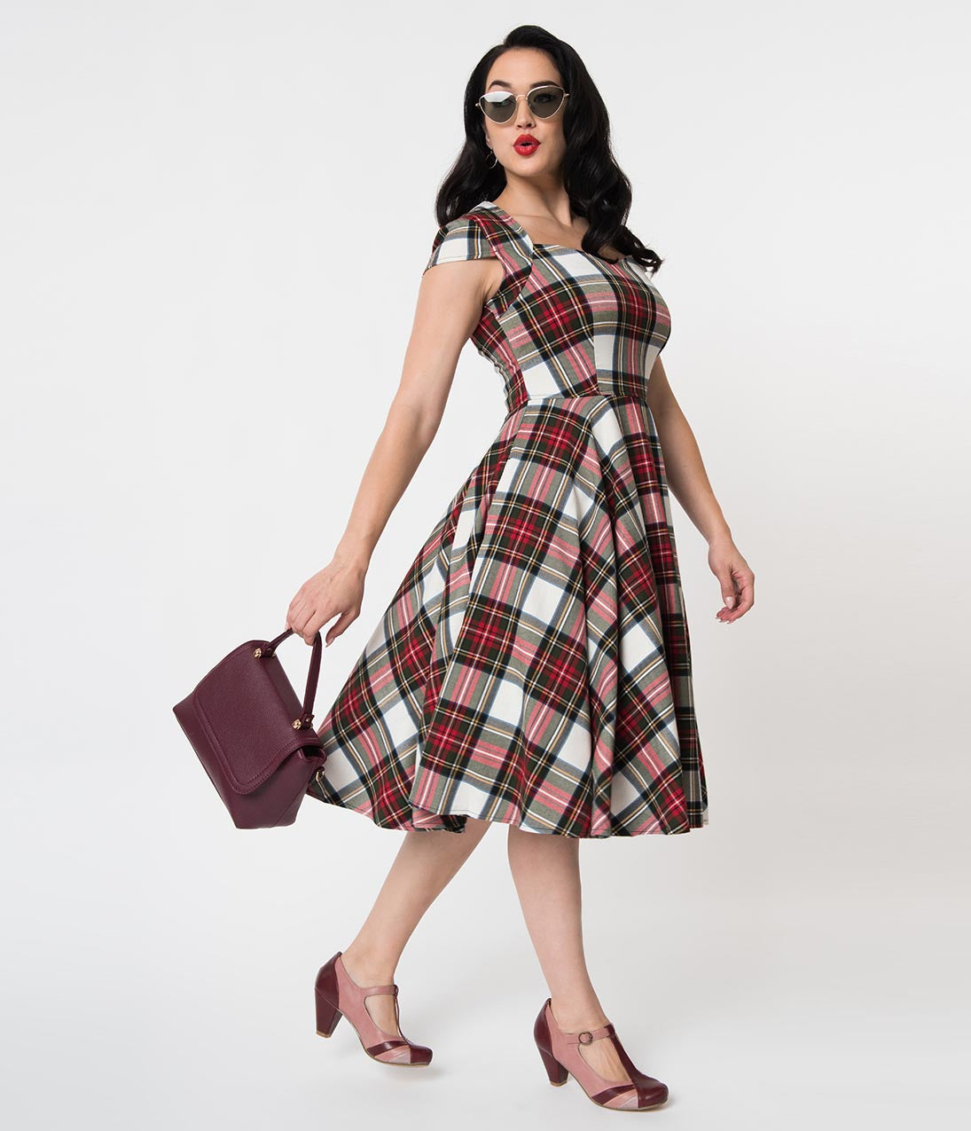 1950s Dresses, 50s Dresses | 1950s Style Dresses Hell Bunny 1950S Style Red  Green Tartan Woven Aberdeen Swing Dress $92.00 AT vintagedancer.com