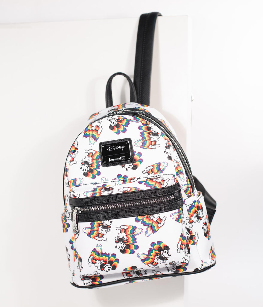 4ebe47816b Loungefly Ivory Leatherette Rainbow Mickey Mouse Mini Backpack – Unique  Vintage