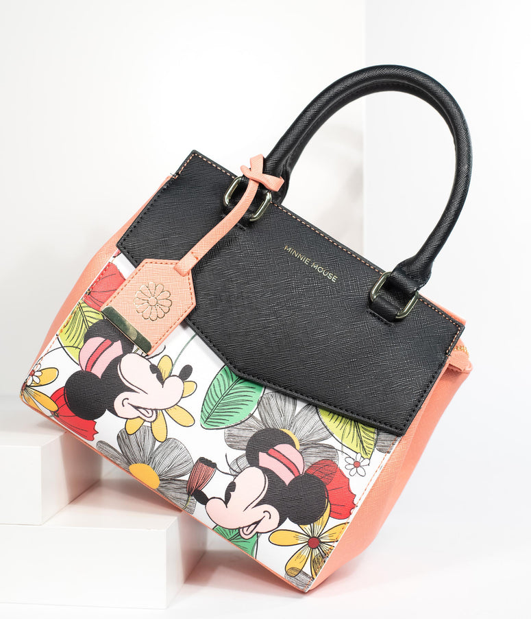 Loungefly Peach & Black Leatherette Tropical Floral Minnie Mouse Disney Purse