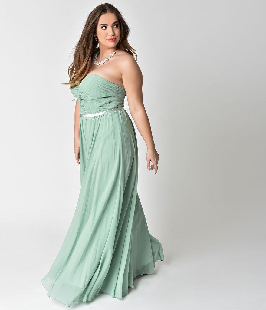 Sage Green Chiffon Strapless Sweetheart Corset Long Gown