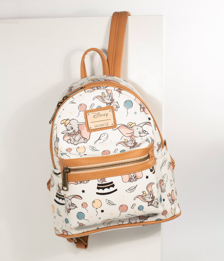 Loungefly Ivory Leatherette Dumbo Print Disney Mini Backpack