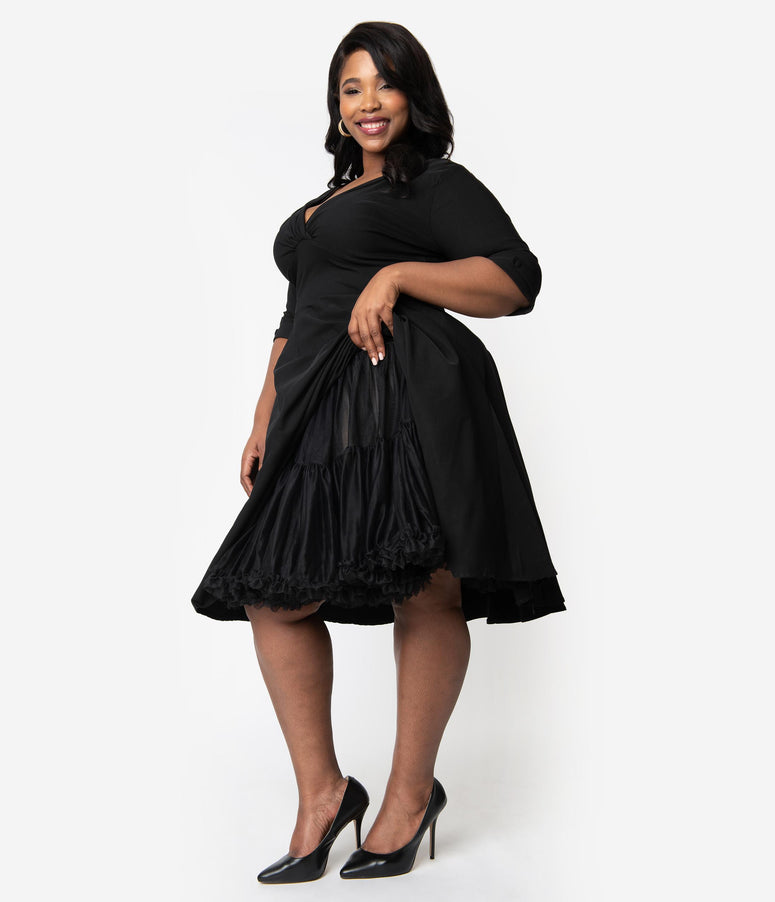 Unique Vintage Plus Size 1950s Style Black Ruffled Petticoat Crinoline
