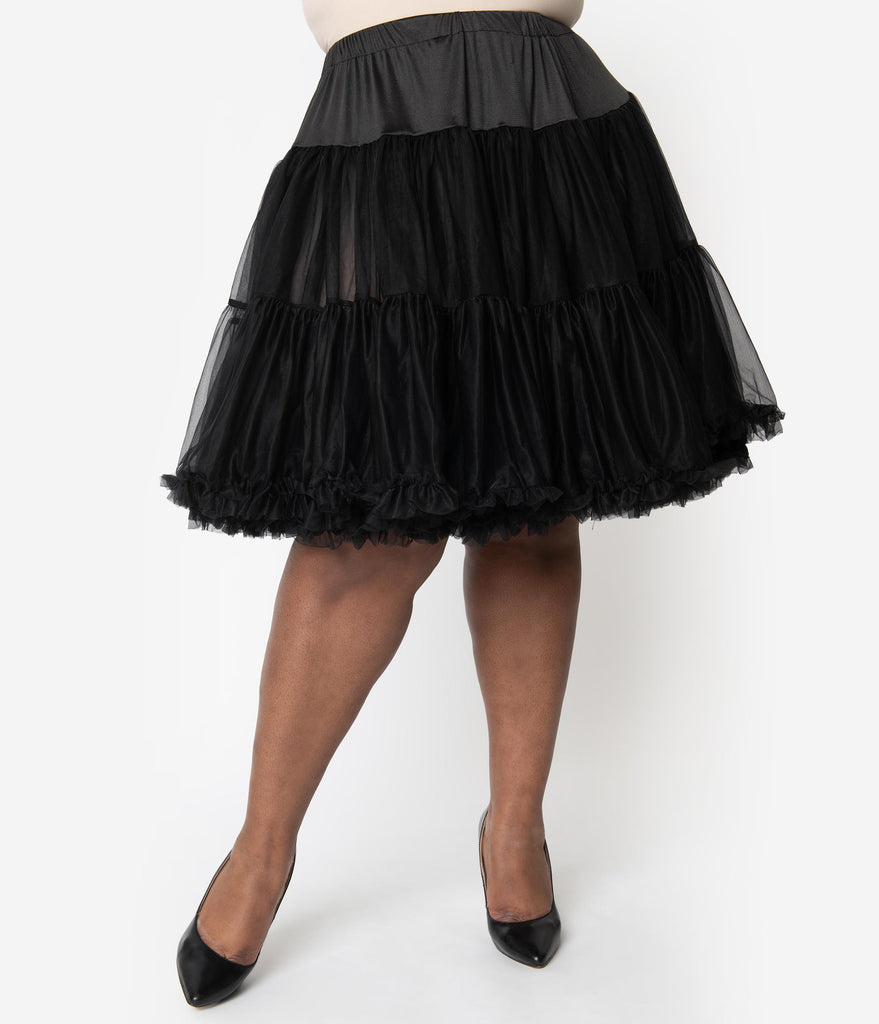 Unique Vintage Plus Size 1950s Style Black Tea Length Ruffled Chiffon Petticoat Crinoline