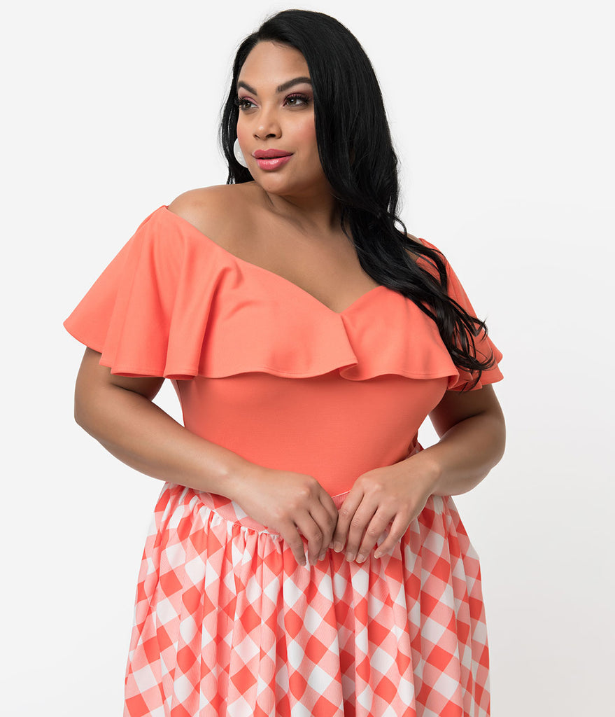 Unique Vintage + Pantone Plus Size 1950s Living Coral Off Shoulder Ruffle Frenchie Knit Top