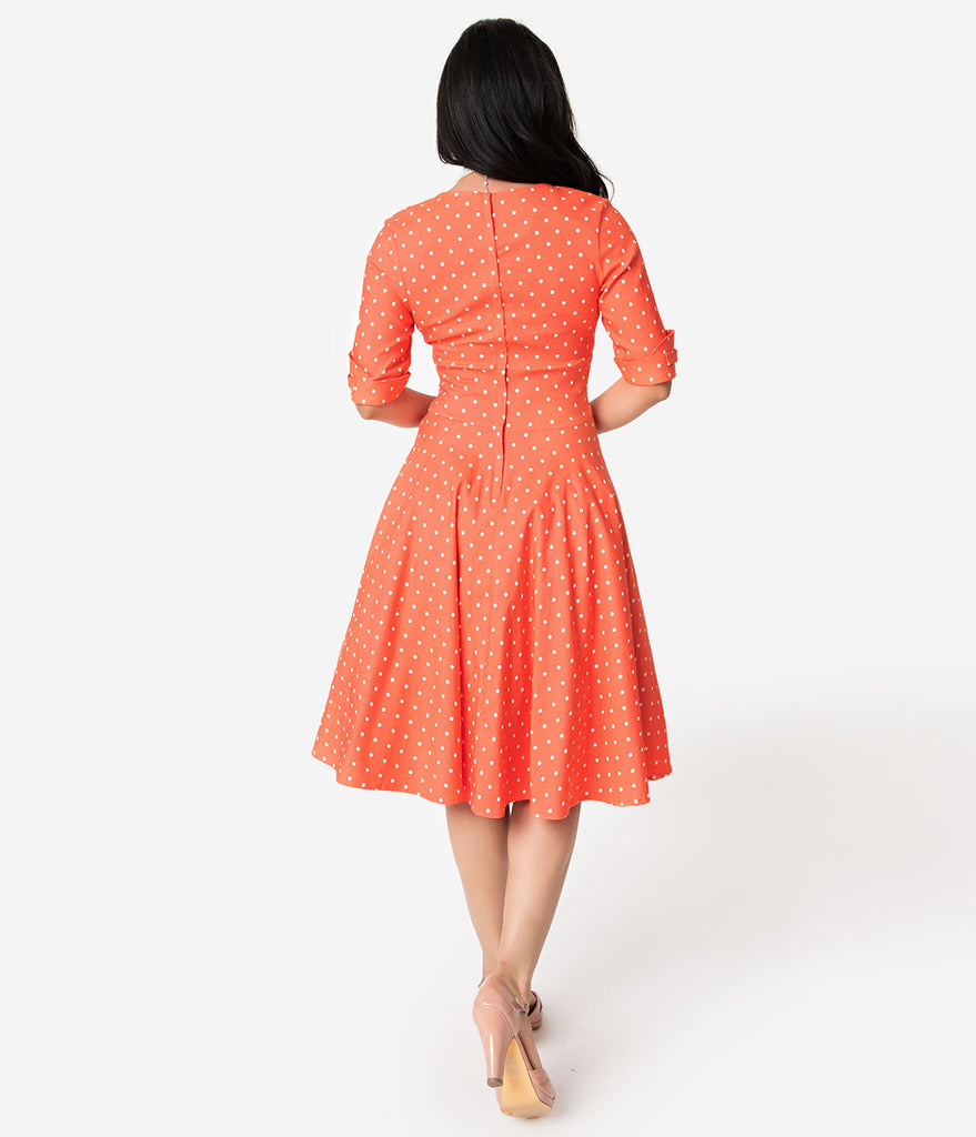 Unique Vintage + Pantone 1950s Living Coral & White Dot Delores Swing Dress with Sleeves