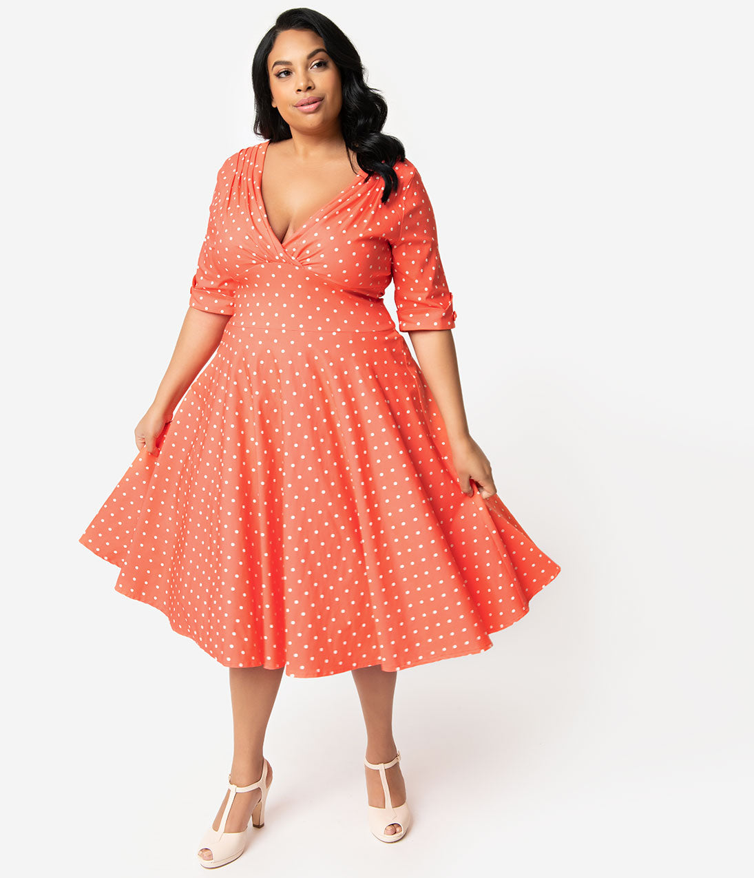 Unique Vintage + Pantone Plus Size 1950s Living Coral   White Dot Delores  Swing Dress with fd78420c3