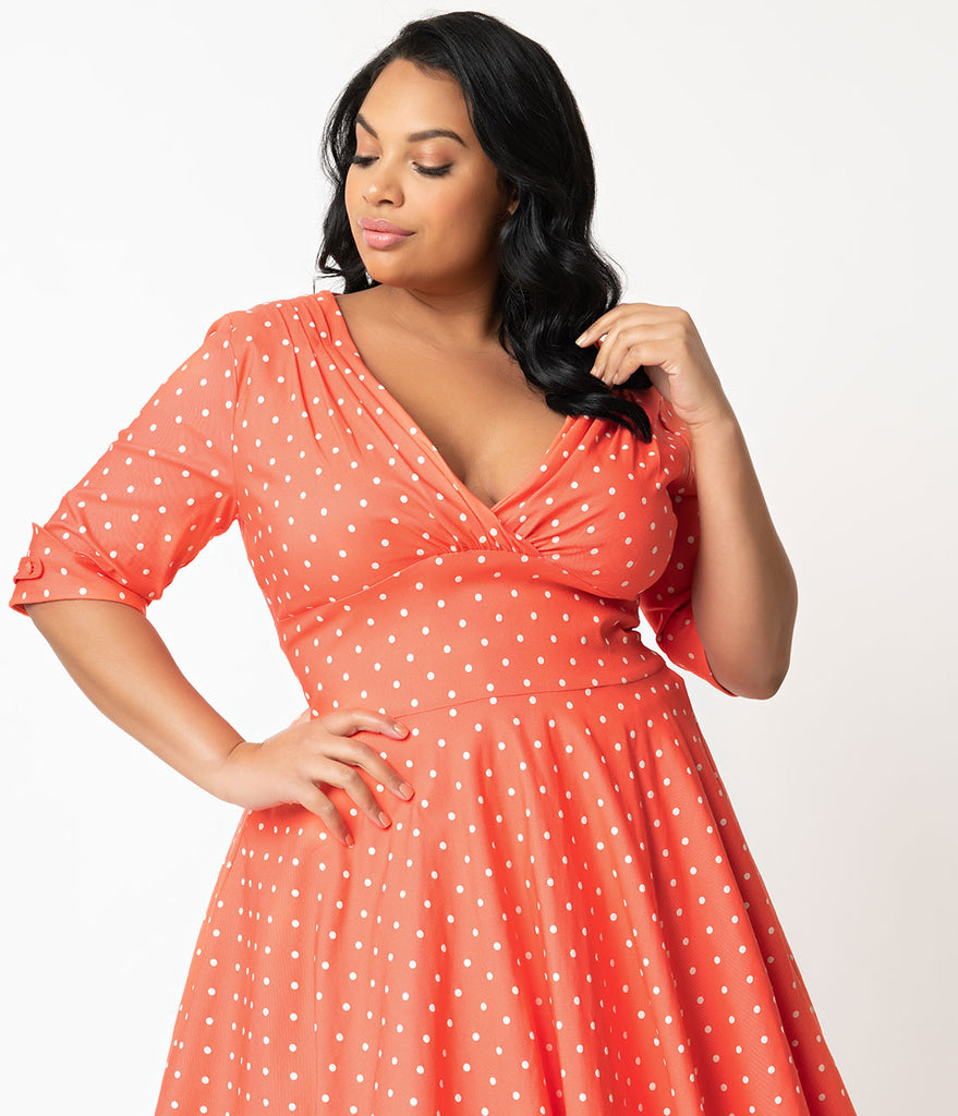 Unique Vintage + Pantone Plus Size 1950s Living Coral & White Dot Delores Swing Dress with Sleeves