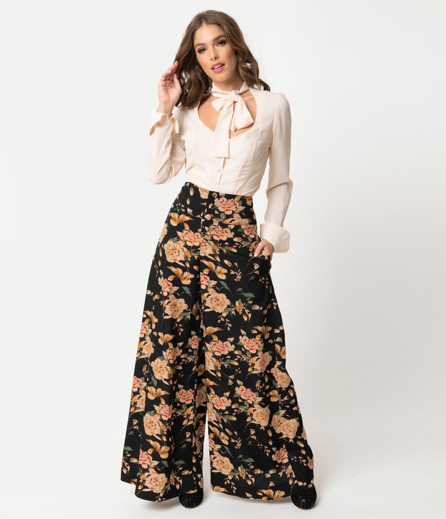 Unique Vintage 1940s Style Black & Cream Floral High Waist Rosie Wide Leg Pants