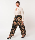 Unique Vintage Plus Size 1940s Style Black & Cream Floral High Waist Rosie Wide Leg Pants