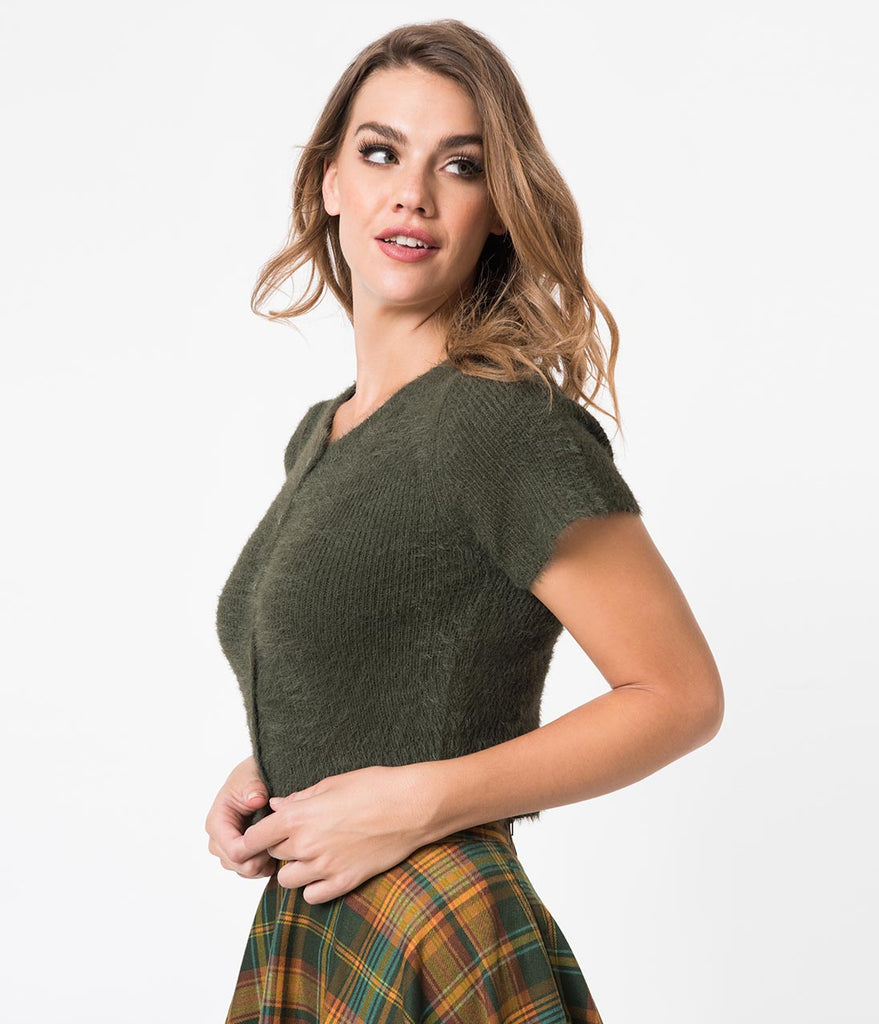 Olive Green Fuzzy Knit Short Sleeve Crop Cardigan