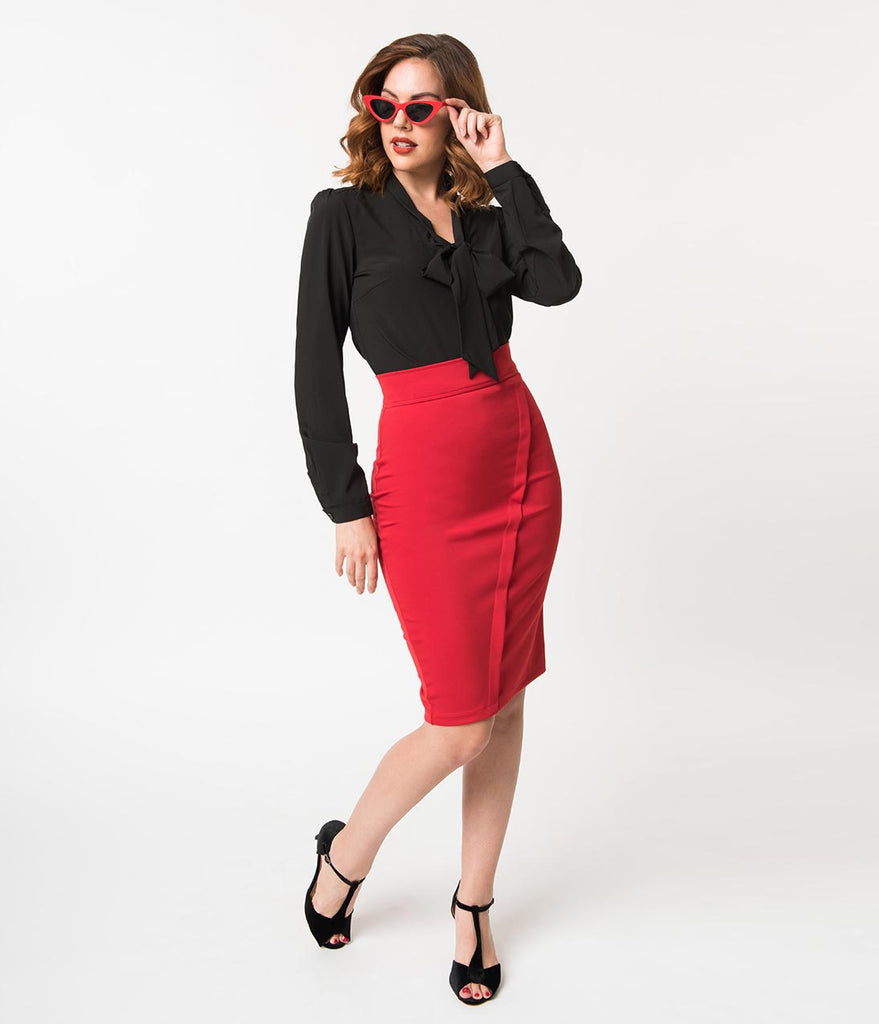 Retro Style Red Stretch High Waist Wrap Style Pencil Skirt