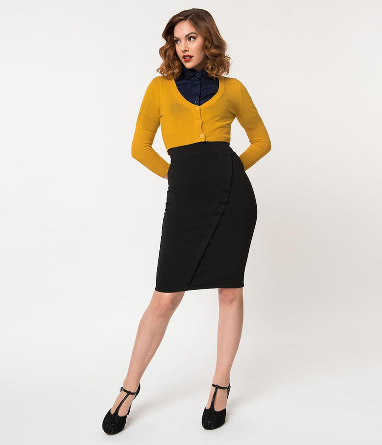 Retro Style Black Stretch High Waist Wrap Style Pencil Skirt