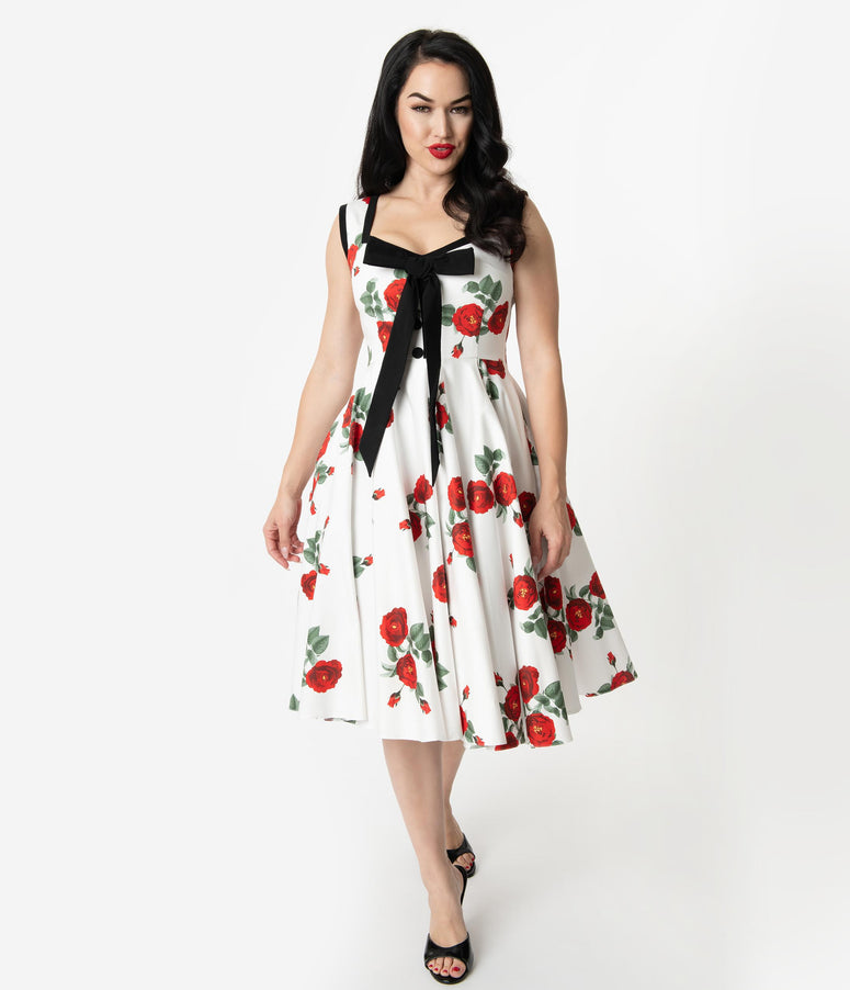 3034996707d Vintage Diva 1950s Style White   Red Floral Print Ida Bow Swing Dress