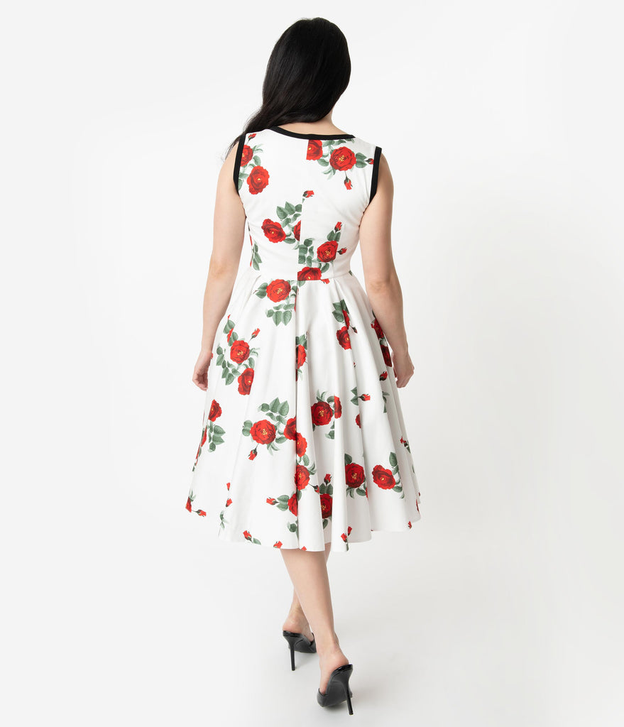 Vintage Diva 1950s Style White & Red Floral Print Ida Bow Swing Dress