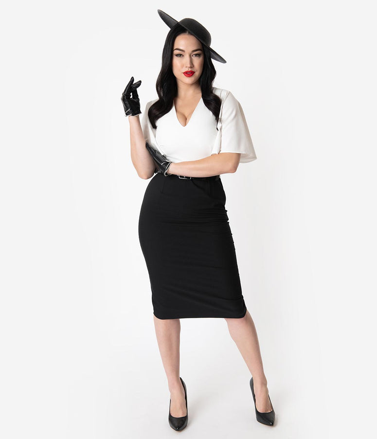 Vintage Diva 1940s Style Black & White Butterfly Sleeved Loretta Pencil Dress