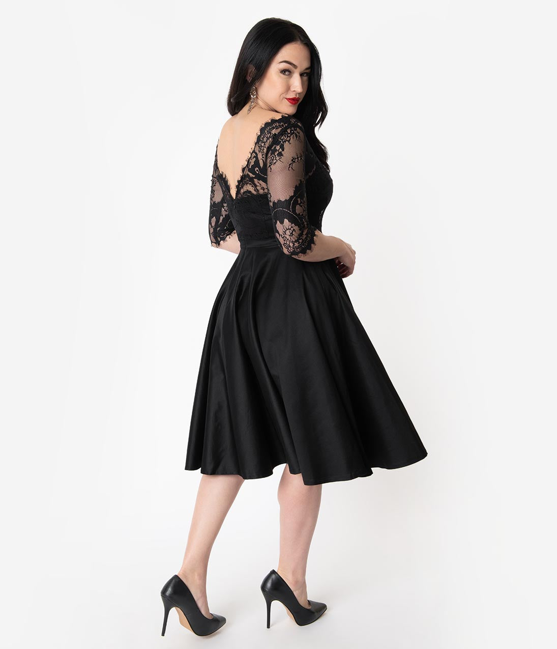 1950s Dresses, 50s Dresses | 1950s Style Dresses Vintage Diva 1950S Style Black Lace Sleeved Leonora Swing Dress $132.00 AT vintagedancer.com