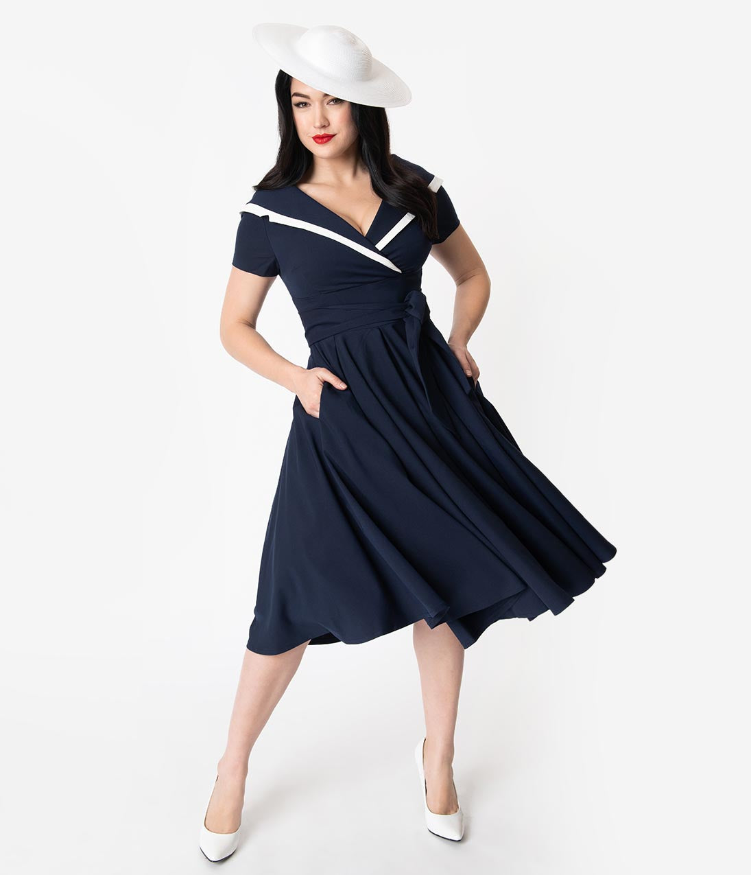 1950s Fashion History: Women's Clothing Vintage Diva 1940S Navy  White Short Sleeve Greta Swing Dress $132.00 AT vintagedancer.com