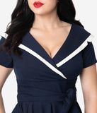 Vintage Diva 1940s Navy & White Short Sleeve Greta Swing Dress
