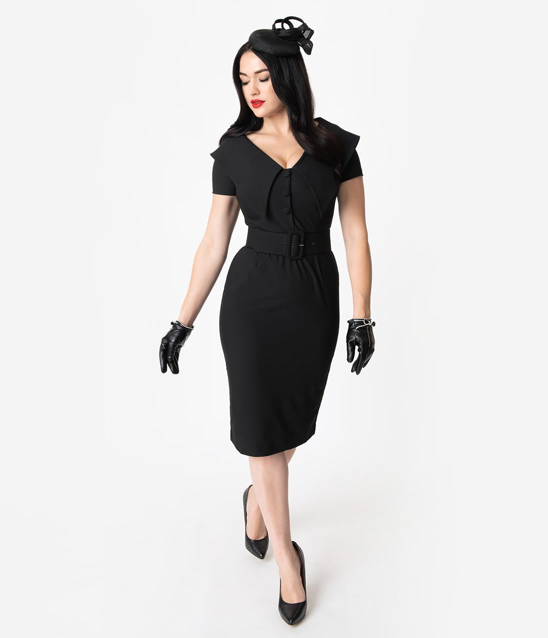 1950s Fashion History: Women's Clothing Vintage Diva 1950S Black Wide Collar Belted Joan Pencil Dress $132.00 AT vintagedancer.com