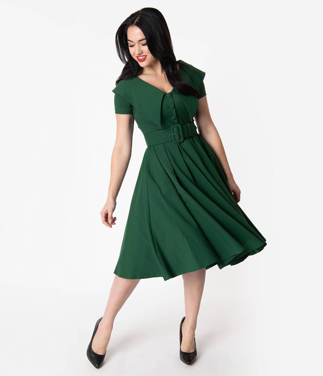1950s Fashion History: Women's Clothing Vintage Diva 1950S Green Wide Collar Belted Joan Swing Dress $132.00 AT vintagedancer.com