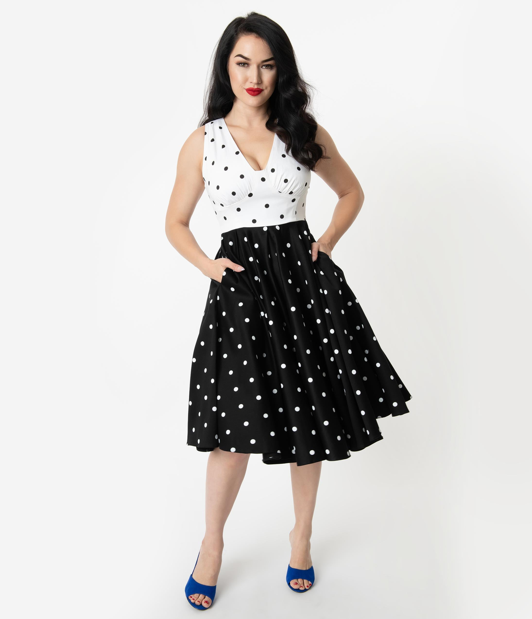 32f308e8c Vintage Diva 1950s Style Black   White Polka Dot Print Esme Swing Dress