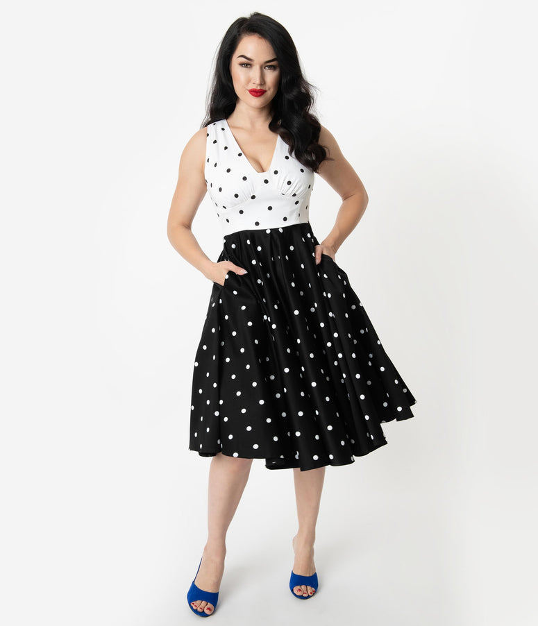 Vintage Diva 1950s Style Black & White Polka Dot Print Esme Swing Dress