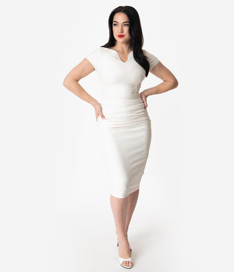 Vintage Diva 1950s Ivory Stretch Ruched Grace Pencil Dress