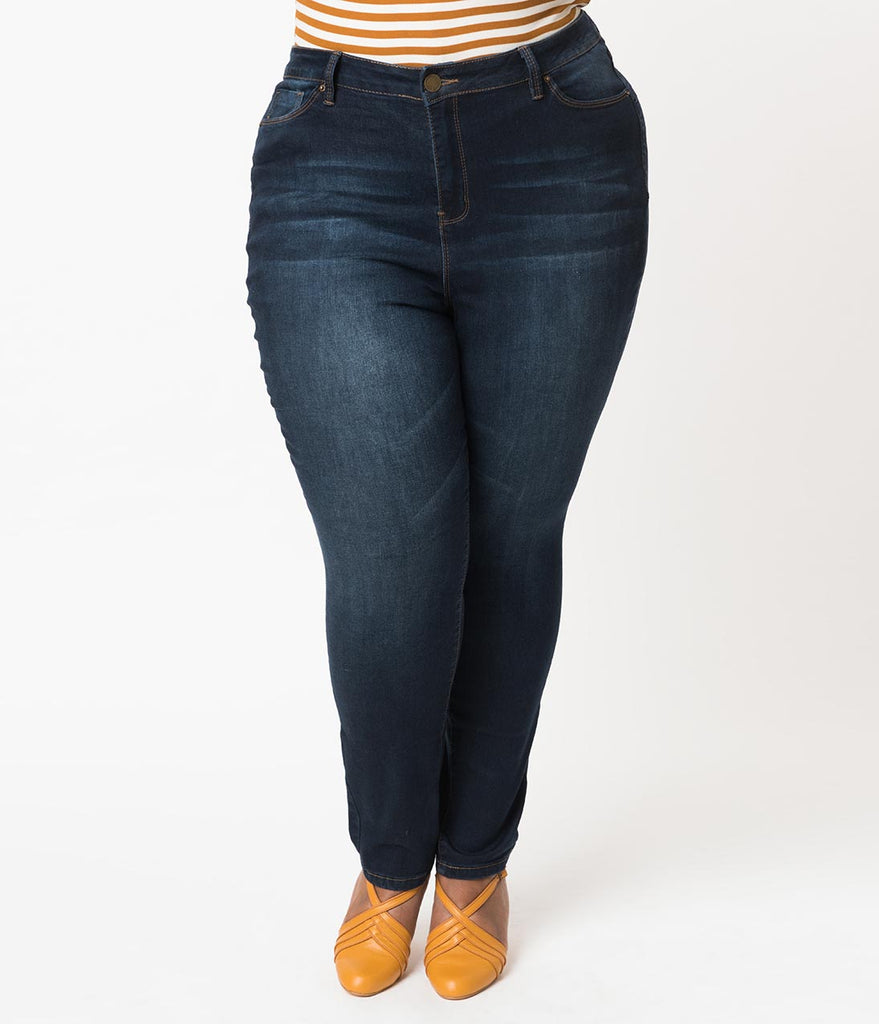 Plus Size Retro Style Denim Blue Luxe Stretch Sky High Waist Skinny Jean