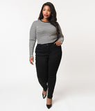 Plus Size Retro Style Black Luxe Stretch Sky High Waist Skinny Jean